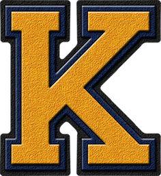 Presentation Alphabets Orange Varsity Letter K