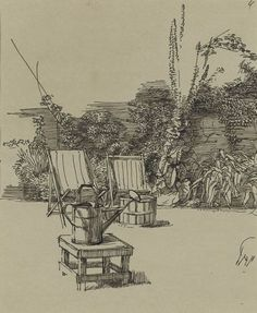 Charles Mahoney (1903-1968) - Two Sunchairs and Watering Can in a Garden - Pen and ink drawing