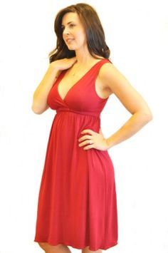 Racy red nursing gown by Amamante.  Style 1023 Signature Nursing Gown with integrated sleep bra under $45.