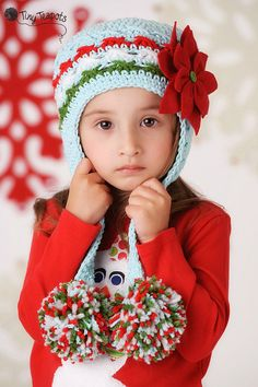 Girls Poinsettia Pom Pom Hat Christmas Holiday Hat by TinyTeapots