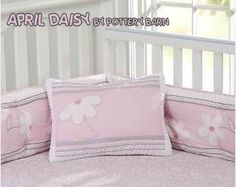 pink and gray baby girl nursery crib bedding set april daisy pottery barn kids quilt sheets