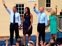 Early Bird Rise and Shine | The Obama Diary  On This Day: President Barack Obama, First Lady Michelle Obama, Vice President Joe Biden and Dr Jill Biden wave to thousands at a campaign stop, Friday, Sept. 7, 2012, in Portsmouth, N.H.