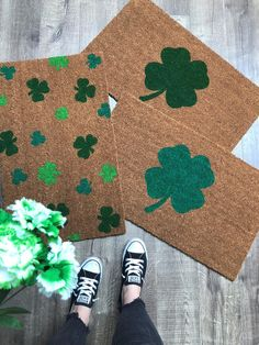 Shamrock Doormat / Funny Doormat / St. Patricks Day Doormat / | Etsy Funny Welcome Mat, Welcome Mats, Traditional Door Mats, Weathered Paint, Door Rugs, Funny Doormats, Coir Doormat, Personalized Door Mats, Newlywed Gifts