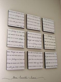 Wedding Lyrics Wall Art