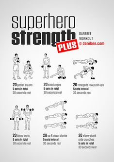 Superhero Strength Plus is a free weights training strength workout from Darebee. Kettlebell Training, Cardio Training, Dumbbell Workout, Free Weight Workout, Gym Workout Tips, Free Workout, Workout Men, Men Exercise, Workout Routines