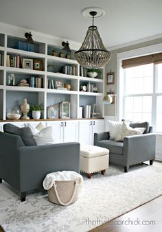 Trendy Home Library Diy Built In Bookcase Small Sitting Rooms, Sitting Room Decor, Sitting Area, Boho Dining Room, Small Dining, Home And Deco, Formal Living Rooms, Furniture Arrangement, Home Office Design
