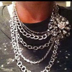 Premier Designs Chain Reaction necklace & Ruffles pin