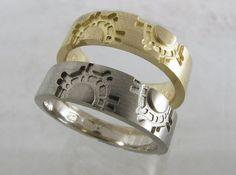 Gear inspired wedding bands for steampunk weddings