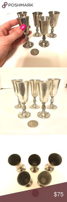 "Miniature Pewter Goblets Set of vintage miniature pewter goblets with a pineapple stem. Measure 3.5"" tall and 1 3/8"" across the top. Just one on E...sy sells for $19. These are in great condition. Other"