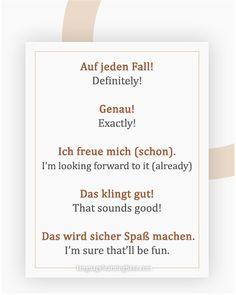 The Many Different Ways to Say 'Yes' in German Study German, German English, Learn German, Learn French, German Grammar, German Words, German Language Learning, Language Study, Words In Different Languages