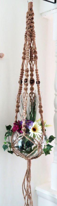 "Jute macrame plant hanger, macrame plant holder, hanging planter, 55"", pot holder, 6 ply NATURAL JUTE, crown knot, beads, hippie, 70s, large"