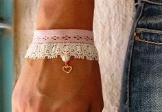 Gold Heart Pink Jewelry Unique Jewelry by FashionAndScarves Lace Jewelry, Pink Jewelry, Unique Jewelry, Unique Bracelets, Handmade Bracelets, Etsy Christmas, Christmas Gifts, Lace Bracelet, Hand Designs