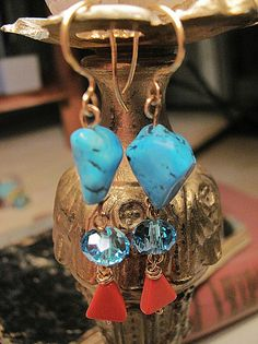 Natural Turquoise earrings Blue earrings Gold by MADAMBLUEONE, $21.00