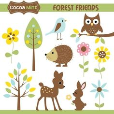 Forest Friends clip art by Cocoa Mint.  $5.00.  bird, owl, hedgehog, deer, bunny rabbit, flowers trees