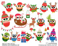 Christmas owls digital clip art for Personal by Giftseasonstore