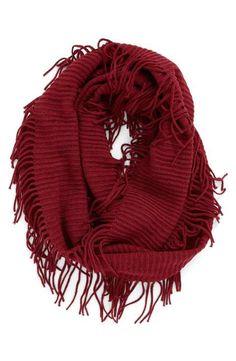 BP. Rib Knit Fringe Infinity Scarf