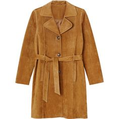 Monki Sara suede coat ($175) ❤ liked on Polyvore featuring outerwear, coats…