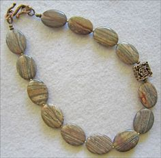 Silver Mist Jasper Necklace with Carved Bronze Focal Bead - pinned by pin4etsy.com