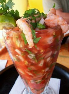 Mexican Shrimp Cocktail Only 4 Weight Watchers Points Plus per cup! -Shrimp -Cucumber -Tomatoe -Avocado (not too much) -Cilantro -Lime -Onion -Jalapeno -Clamato Juice -Tapatio