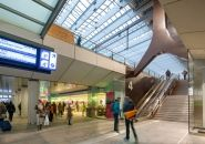 Rotterdam Central Station : one of the most important transport hubs in The Netherlands. With passengers a day the public transport terminal has as Rotterdam, Urban Landscape, Landscape Photos, South Holland, Space Projects, Roof Structure, Roof Plan, Central Station, Shopping Center