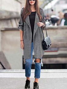 Grey Lapel Long Sleeve Loose Coat