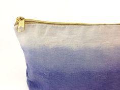 84a430a949ec Ombré denim blue makeup bag case with gold zipper by gertiebaxter