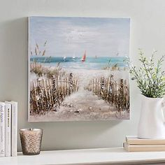 Our Coastal Scene Canvas Art Print is reminiscent of the start of a relaxing summer day! It's sure to have you longing for that path to the beach. Beach Canvas Art, Canvas Wall Decor, Beach Art, Canvas Art Prints, Framed Art Prints, Wall Art Decor, Beach Scene Painting, Beachy Room, Nautical Painting