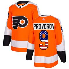 e96b03c1d28 Adidas Flyers  9 Ivan Provorov Orange Home Authentic USA Flag Stitched  Youth NHL Jersey Orange