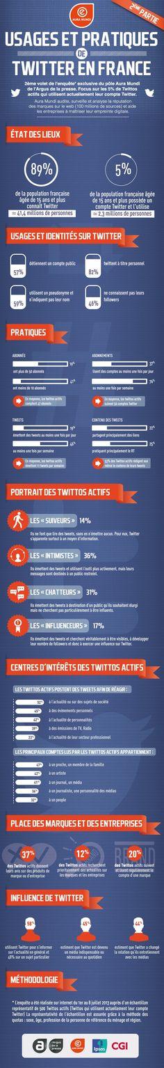 Infographie : Usages et pratiques de Twitter en France - Focus sur les twitteurs actifs