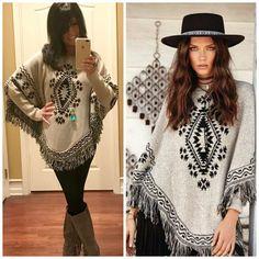 ELAN Boho Long Sleeve SOUTHWEST Aztec Fringe Poncho Sweater Natural/Black S-XL #Elan #Poncho #Casual