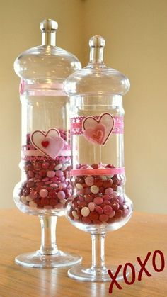 Valentine's Day Candy Jars ... I could probably handle this .... <3 the jars though .....