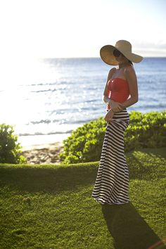 Leanne Barlow, creator of Elle Apparel showcases her personal style, sewing tutorials, beauty tips, and provides a peek into her life as a mom of three boys. Summer Chic, Spring Summer Fashion, Summer Maxi, Summer Breeze, Summer Dresses, Striped Maxi Skirts, Stripe Skirt, Mode Inspiration, Fashion Inspiration