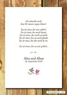 Gastgeschenke - Druck/Wandbild/Print: Segenswunsch (Hochzeit) - ein Designerstück von DiePersoenlicheNote bei DaWanda