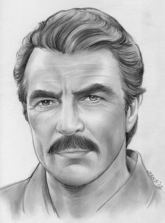 Tom Selleck by gregchapin on deviantART~ artist Greg Joens Celebrity Caricatures, Celebrity Drawings, Celebrity Portraits, Portrait Au Crayon, Pencil Portrait, Portrait Art, Realistic Pencil Drawings, Pencil Art Drawings, Graphite Art