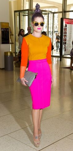 Kelly Osbourne looking fucking amazing during NYFW and rocking out color block like no other bitch i...