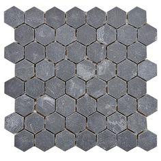 Master Bath wall -  SomerTile 'Ridge Hexagon Black' 11.125x11.125-inch Stone Mosaic Tiles (Pack of 5)