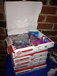 Goody pizza boxes instead bags ... For a ninja turtle birthday party!