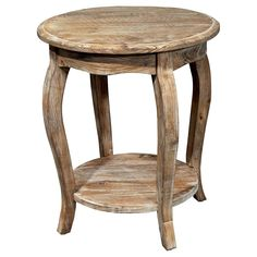 Rustic Reclaimed Round End Table Driftwood - Alaterre