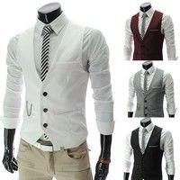 Wish | Korean fashion metrosexual men slim V-Neck collar vest