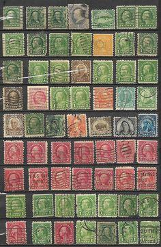 US 1898 Definitives Lot of 63 stamps # 711 - 6¢ Washington - red ora, # 206 -1¢