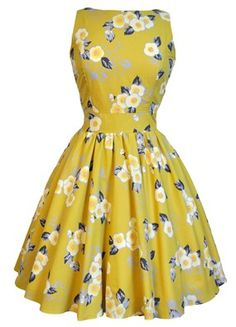 LADY VINTAGE HEPBURN TEA DRESS in YELLOW FLORAL *50s ROCKABILLY* SIZE 8-20