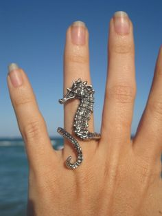 Sea Horse Ring in Sterling Silver. Needs some bling. Cute Jewelry, Jewelry Rings, Jewelry Box, Jewelry Accessories, Unique Jewelry, Jewlery, Bling Bling, Horse Ring, Do It Yourself Jewelry