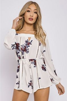 a798c661ab4 CHARLOTTE CROSBY WHITE FLORAL CUT OUT BARDOT PLAYSUIT