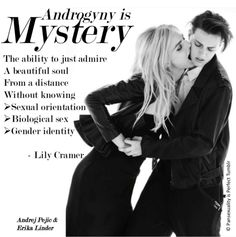 Androgyny is mystery. Andrej Pejic and Erika Linder.