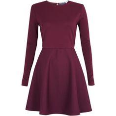 Sportmax Code Austria Skater Long Sleeve Dress (230 AUD) ❤ liked on Polyvore featuring dresses, vestidos, short dresses, robes, purple dress, mini skater dress, long-sleeve mini dress and purple mini dress