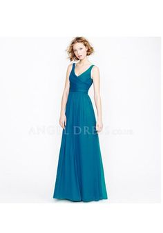 V Neck A line Chiffon Empire Floor Length With Ruching Bridesmaid Dresses