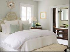 Aqua, white and pale beige bedroom - Pheobe Howard