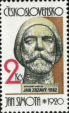 Stamp: Jan Simota: J. Zrzavý (Czechoslovakia) (Czech and Slovak sculpture) Mi:CS 2564 Freedom Fighters, Roman Catholic, Postage Stamps, Sculptures, Baseball Cards, Artist, Painters, Writer, Illustrations