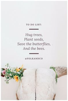 """To do list: hug trees, plant seeds, save the butterflies, and the bees"" Modern poetry by Alisha @folkandco"