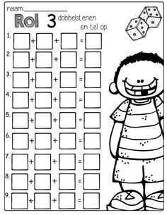 Roll 3 dice, add them up and write the sum. Makes learning addition a little more exciting! by Chick First Grade Math Worksheets, 1st Grade Activities, Second Grade Math, 2nd Grade Math Games, Elementary Math, Kindergarten Math, 1st Grade Crafts, Halloween Math, Math Addition
